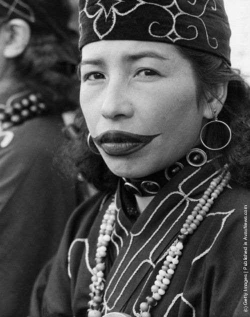 Ainu women from Hokkaido with a traditional facial tattoo, these tattoos were exclusively done on females by older female...