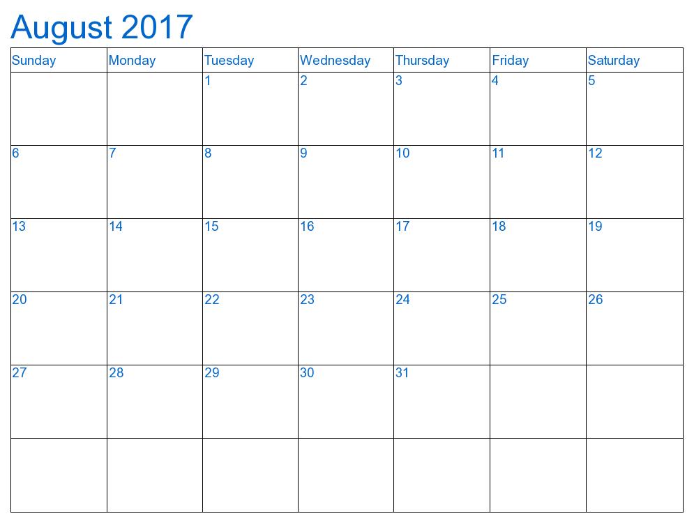Blue August  Calendar  Disneyworld Planning