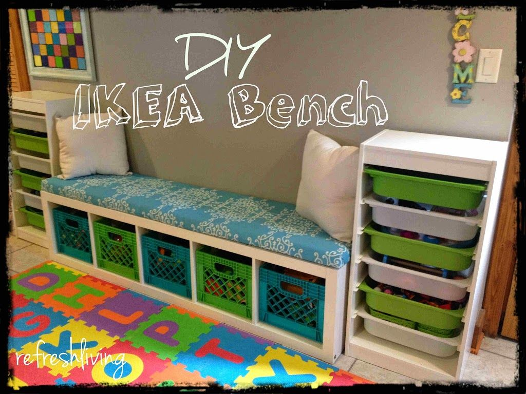 Diy storage bench with ikea shelf storage room concrete for Playroom floor ideas