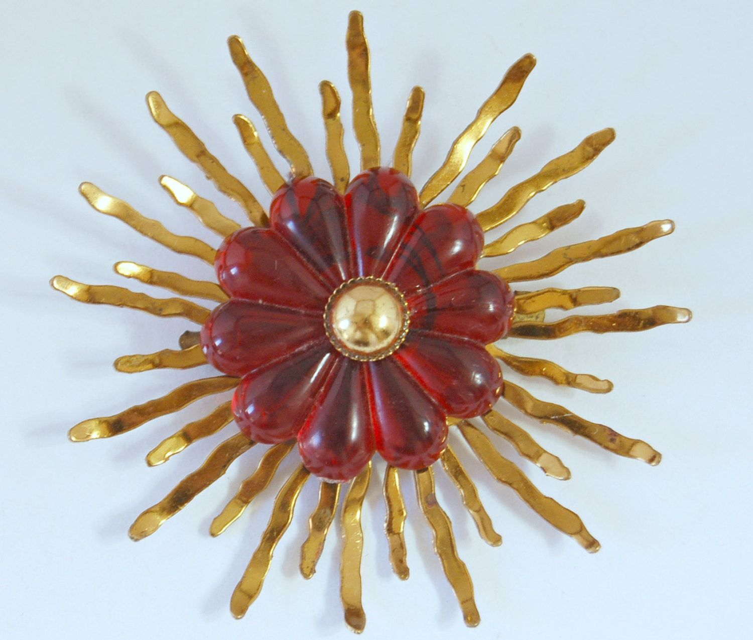 Spectacular 20's Art Deco brass & red celluloid starburst pin, fabulous red cellulose acetate on bright brass rays sunburst statement brooch by BetseysBeauties on Etsy