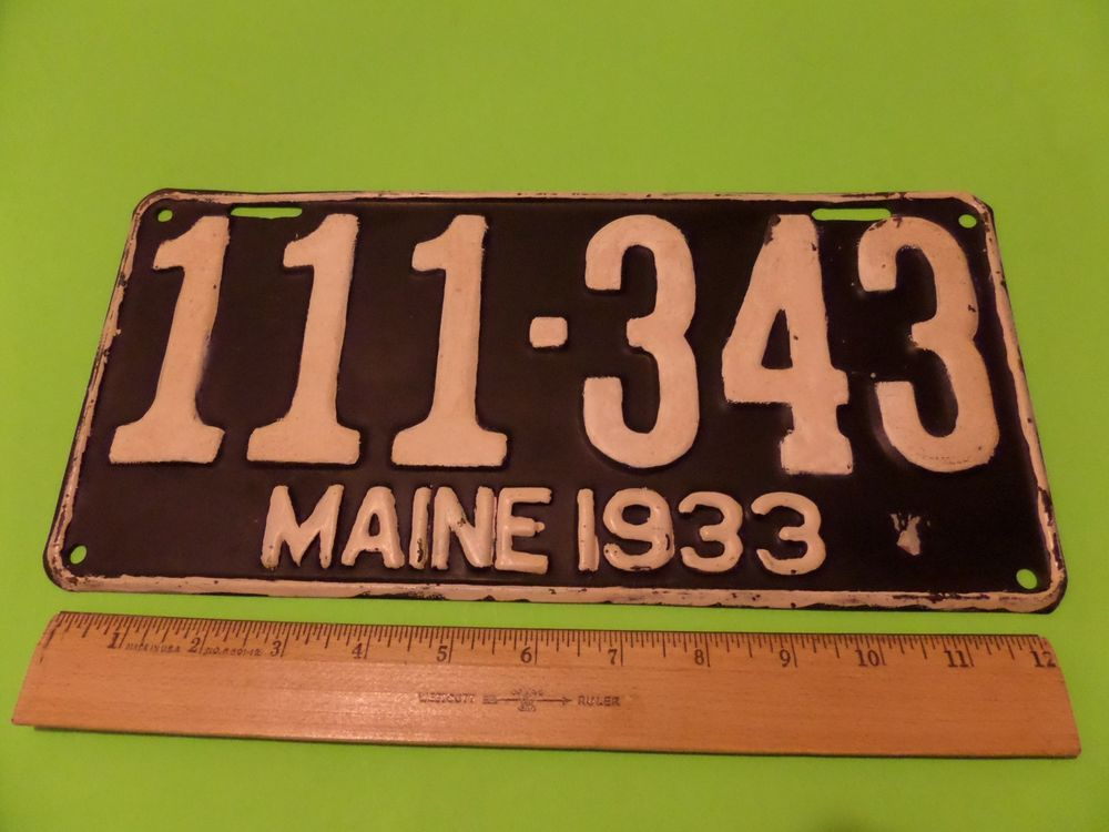 Vintage maine license plate 1933 111-343 | License plates