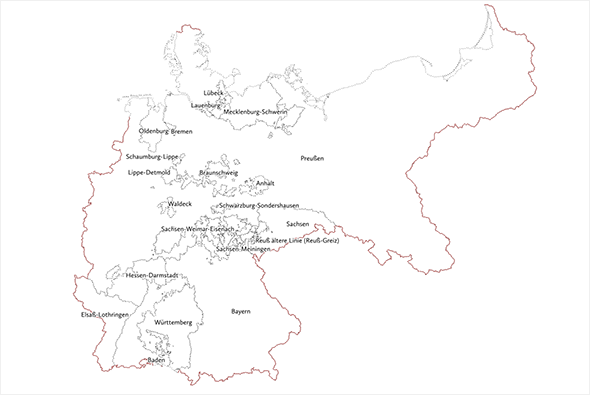 The German Empire 1871-1914 with state boundaries   Duitsland ...