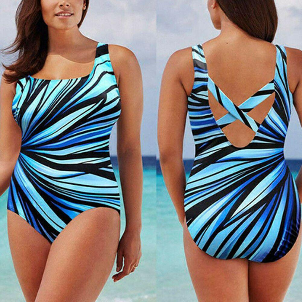 Womens Push Up Padded Monokini High Waisted Bikini Plus Size Swimwears Swimsuit