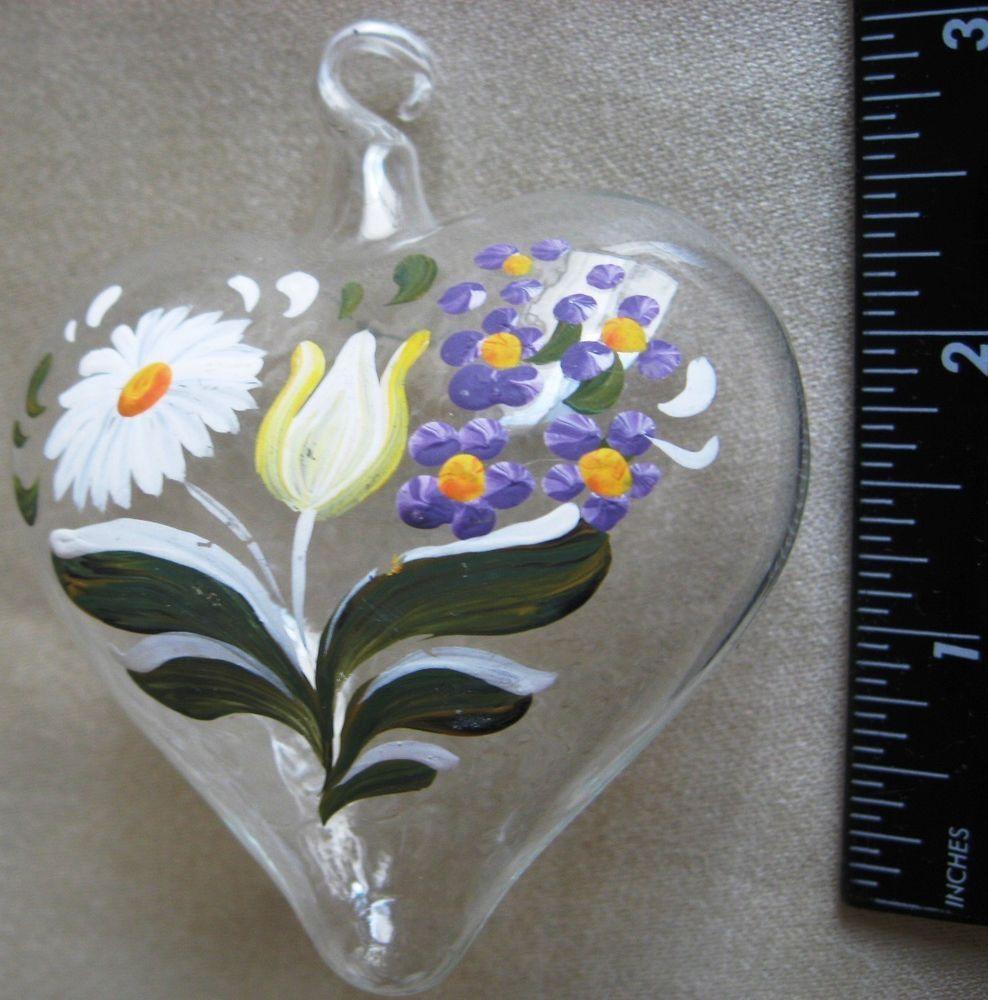 Glass heart christmas ornaments - Christmas Ornament Heart Hand Painted Blown Glass Daisy Tulip Purple Flowers