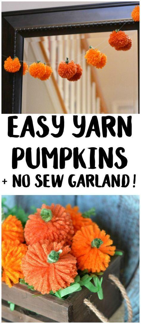 Easy DIY Yarn Pumpkins {+No Sew Pumpkin Garland!} #diyfalldecor
