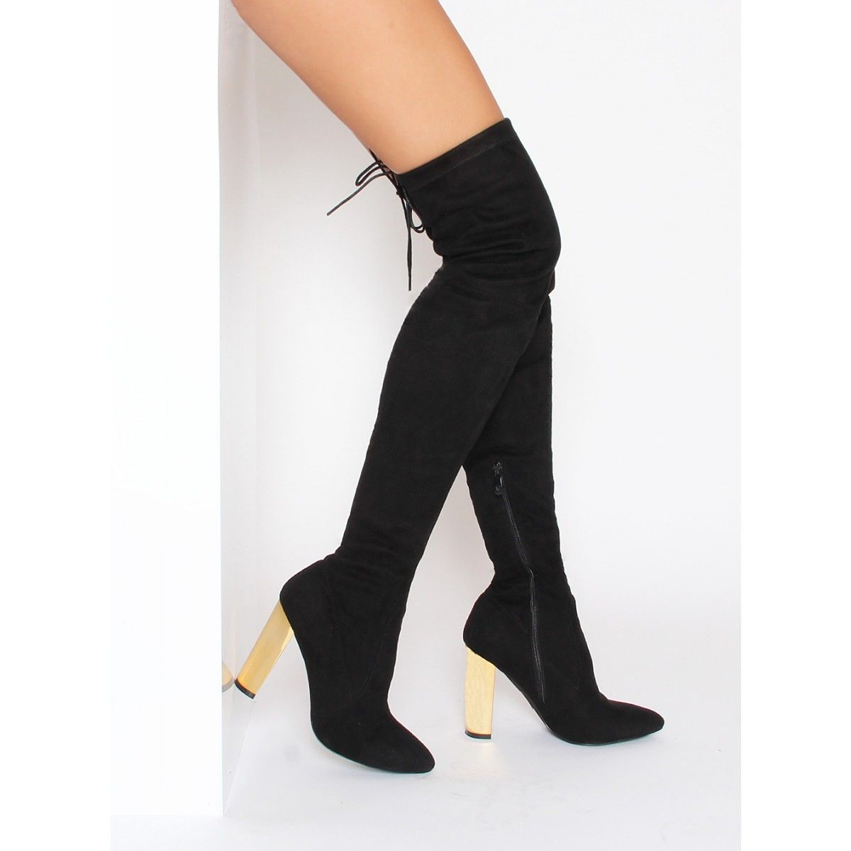 Lottie Black Suede Gold Block Heel Thigh High Boots : Simmi Shoes ...