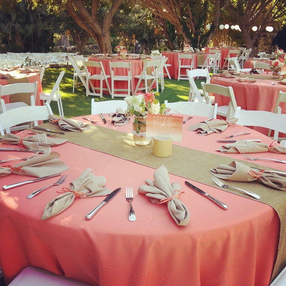 What a beautiful Coral and Jute Burlap Wedding reception set up ...