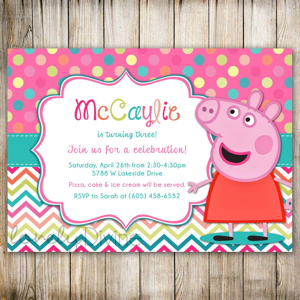 Peppa Pig Birthday Chevron Polka Dot 1st Invitation 2nd