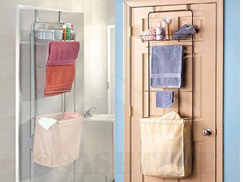 Over The Door Bathroom Toiletries Towel Rack Rail Shelves With Laundry Hamper Basket Organizer