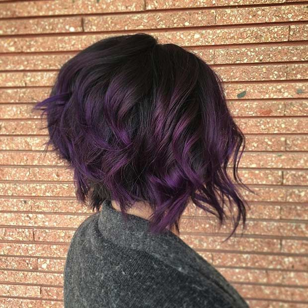 21 Bold And Trendy Dark Purple Hair Color Ideas In 2020 With Images Dark Purple Hair Short Hair Balayage Short Purple Hair