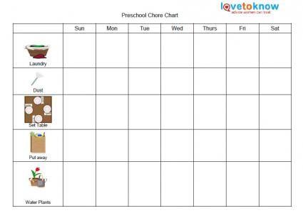 Free Printable Chore Charts for Preschoolers Printable Chore - blank reward chart