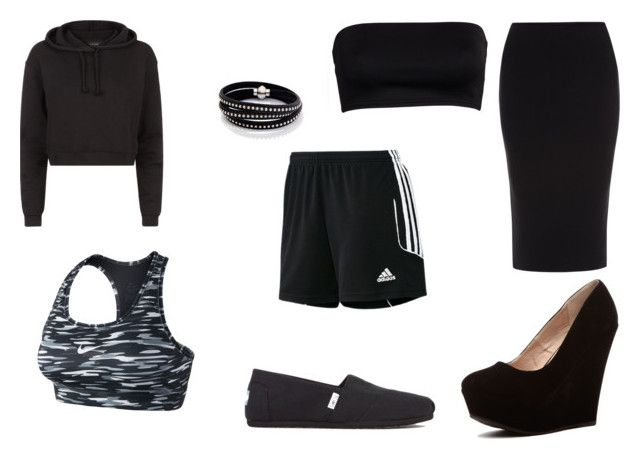 """""""cutie black"""" by mayal-2 ❤ liked on Polyvore featuring Roland Mouret, adidas, NIKE, Sif Jakobs Jewellery and TOMS"""