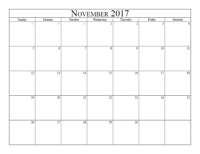 November 2017 Calendar Free printable calendar for November 2017 - calendar templates in word
