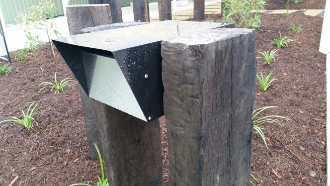 Recycled Railway Sleepers Used As The Posts For This Aluminium Letterbox Posts Continue Through Native Garden As Fe Railway Sleepers Mailbox Design Letter Box