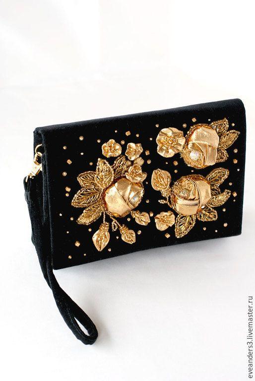 55f2e9060a88 Купить Клатч бархатный вышивка золотые розы - золотой, ручная вышивка,  Вышивка бисером