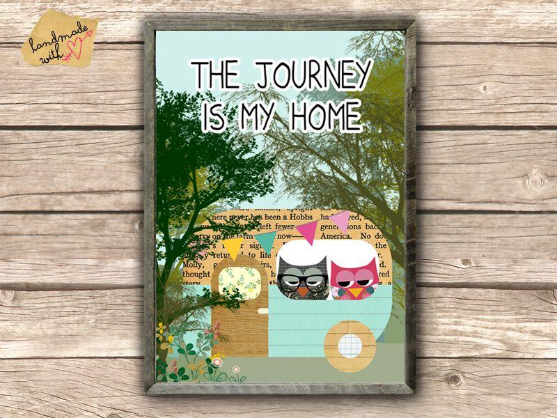 Bus Poster - the journey is my home von VintagePaperGoods - GreenNest auf DaWanda.com