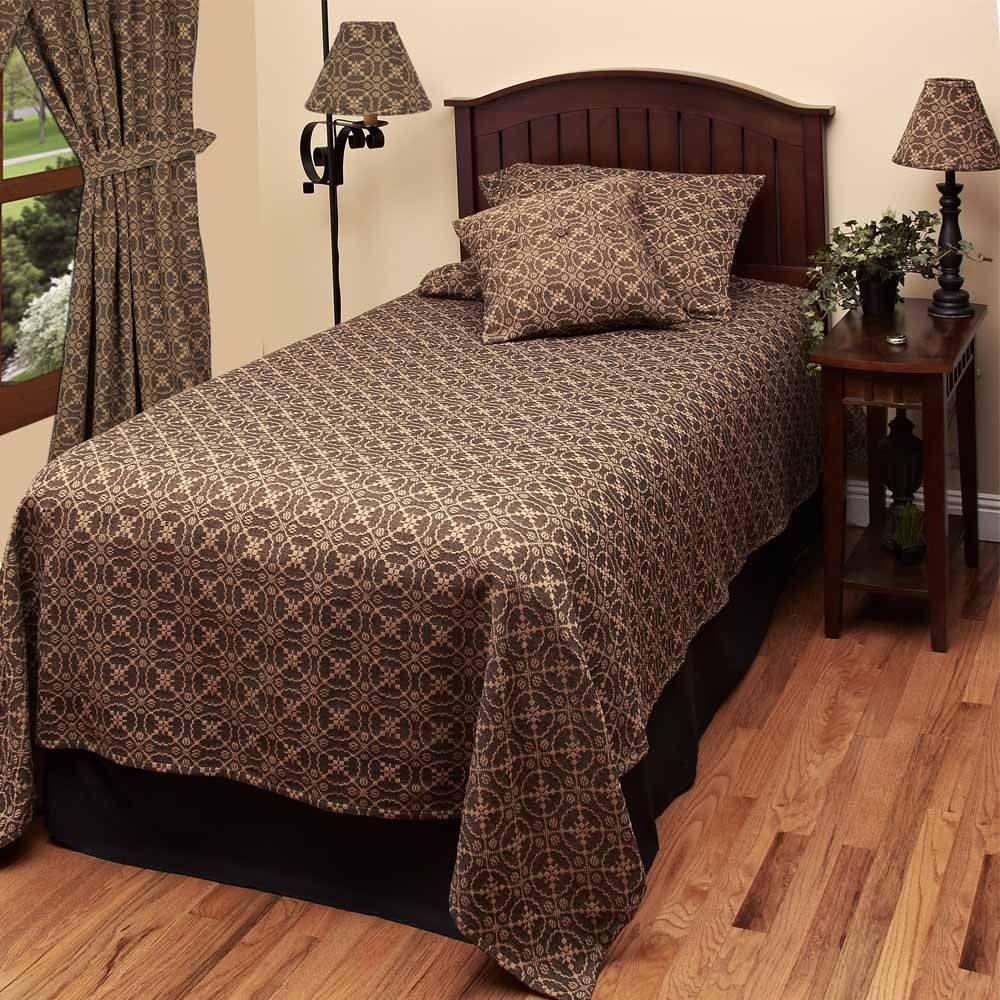 New Primitive Colonial Black Tan LOVER/'S KNOT COVERLET Bedspread Cover QUEEN