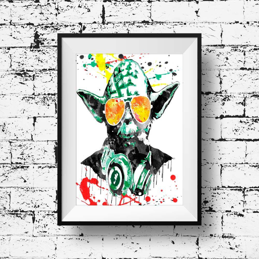 dj yoda Print - yoda dj print Art music wall decor poster