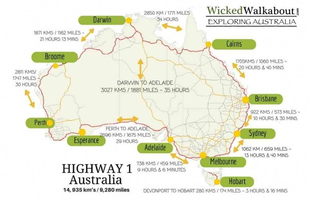 Map Of Australia Highways.Map Of Australia Highway 1 Twitterleesclub