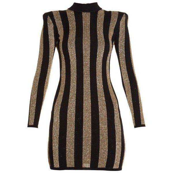 84c374b1b30 Balmain Striped-knit mini dress ( 1
