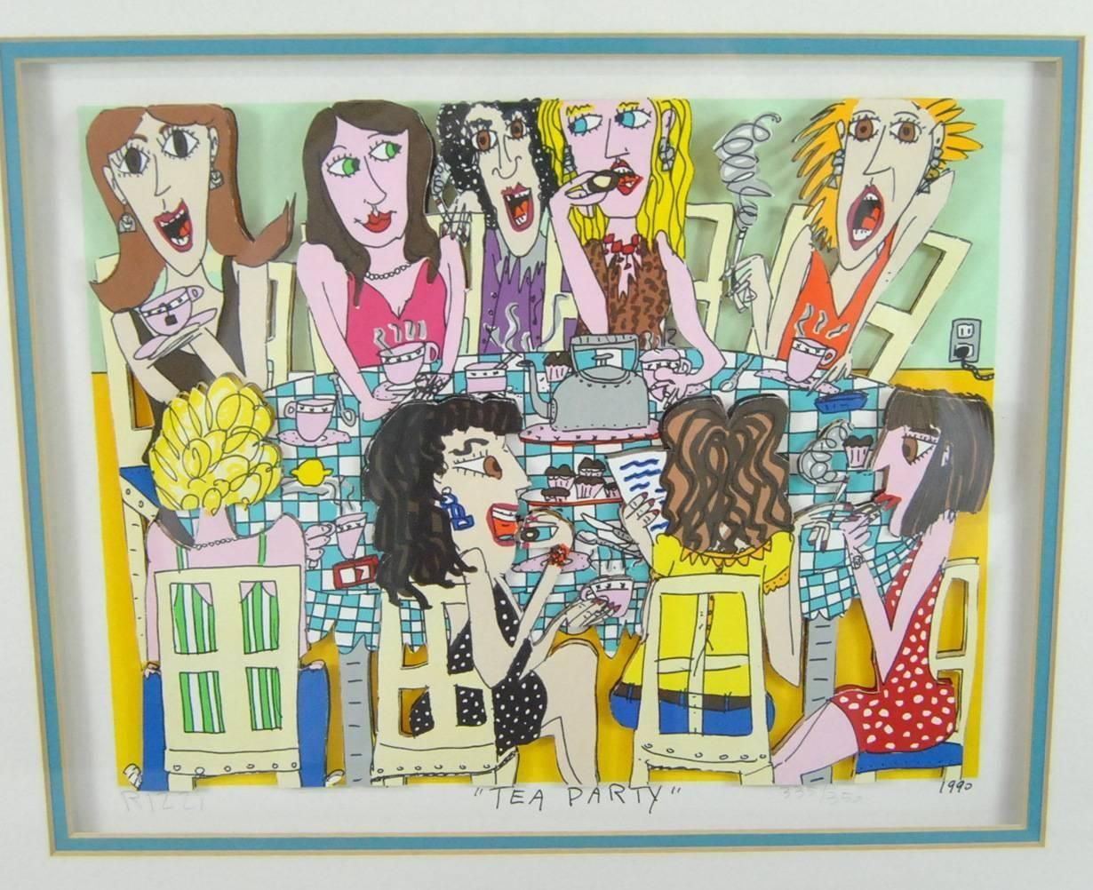 James Rizzi Tea Party 3-D 1990 Hand-Cut Signed and Numbered Lithograph | From a unique collection of antique and modern contemporary art at https://www.1stdibs.com/furniture/wall-decorations/contemporary-art/