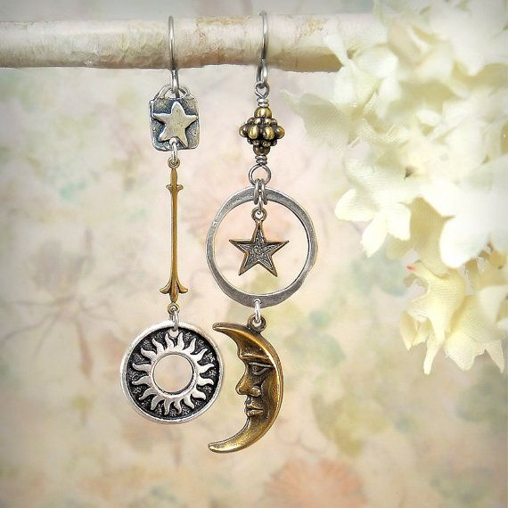 6c2e564e3 Sun Moon Star Earrings, Cosmic Celestial Astronomical Jewelry, Festival  Jewelry, Mixed Metals, Gold and Silver, Beach Wedding, Stargazer, Starry  Night, ...