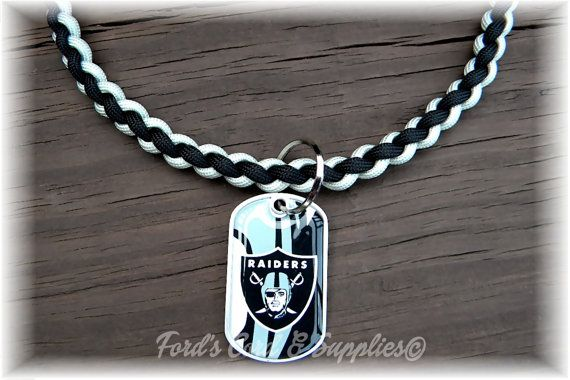Oakland Raiders Paracord Necklace Made by FordsCordandSupplies, $15.50