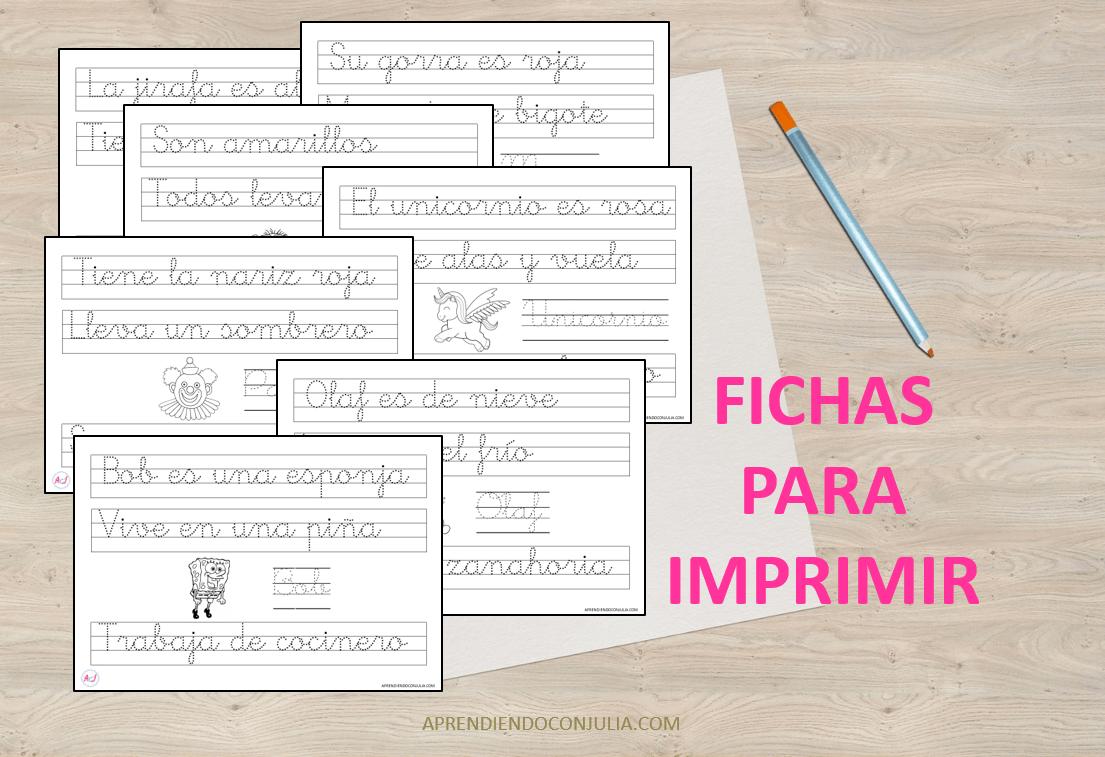 Fichas De Caligrafia Para Imprimir Frases Y Palabras Fichas