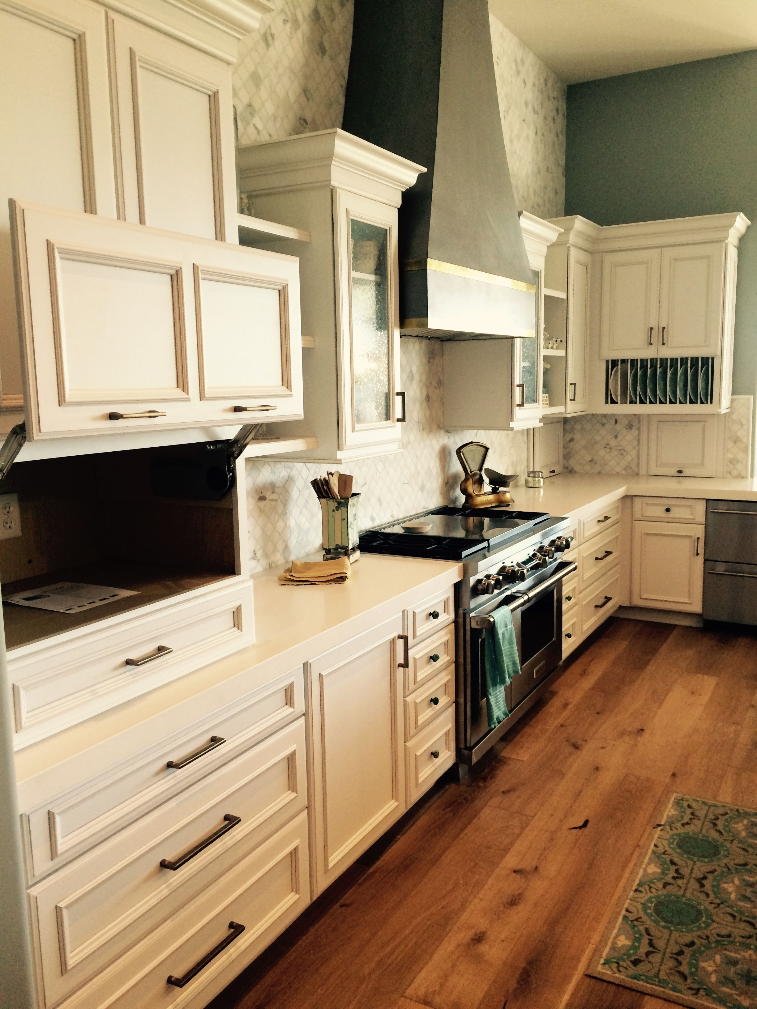 Beautiful Kitchen With White Cabinets And A Pewter Glaze Designed By Nate Hoffman