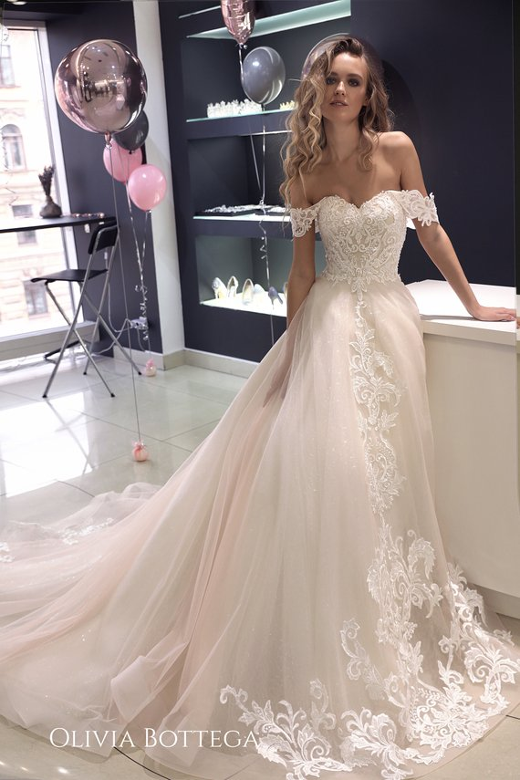 cb685a06 The corset is decorated with modern monogram lace smooth and embroidered  with jewelry bugles, beads, sequins and beads. The skirt. Off the shoulder  wedding ...