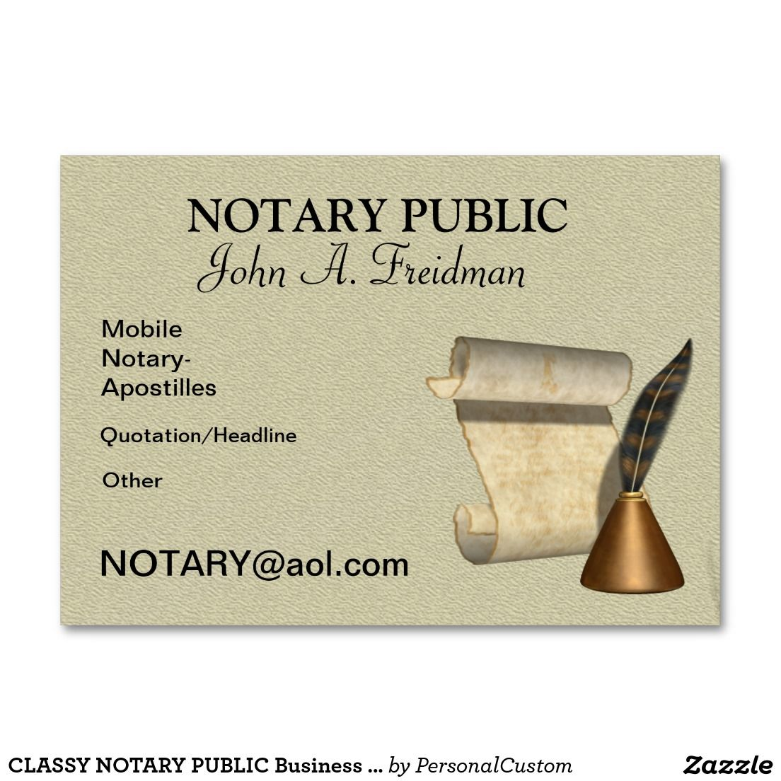 CLASSY NOTARY PUBLIC Business Card Notary