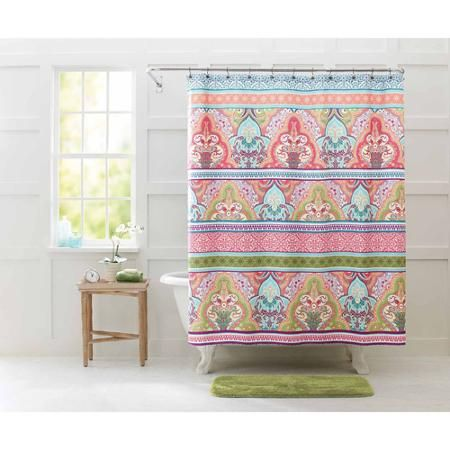 "better homes and gardens jeweled damask 70"" x 72"" polyester shower"