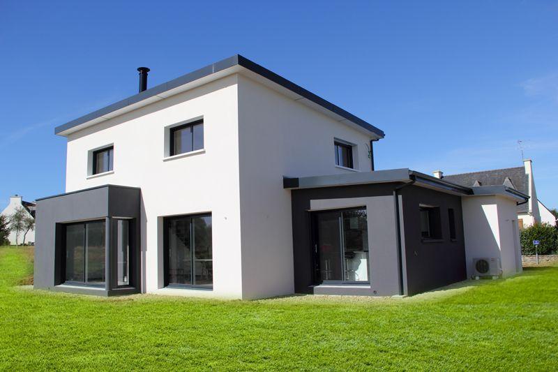 Réalisation maison Contemporaine Nord FInistère Projet constrction - plan maison avec tour carree