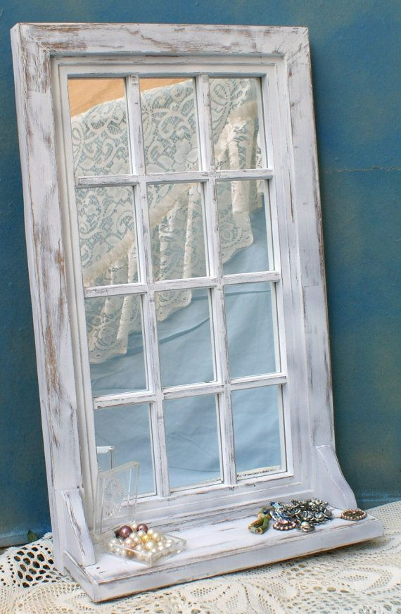 Shabby White Vintage Window Frame Mirror Window Frame Mirror Window Frame Vintage Windows
