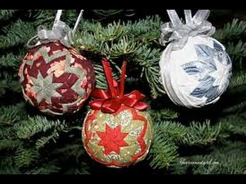 Diy Quilted Christmas Ornament Youtube Fabric Christmas Ornaments Quilted Christmas Ornaments Christmas Ornaments