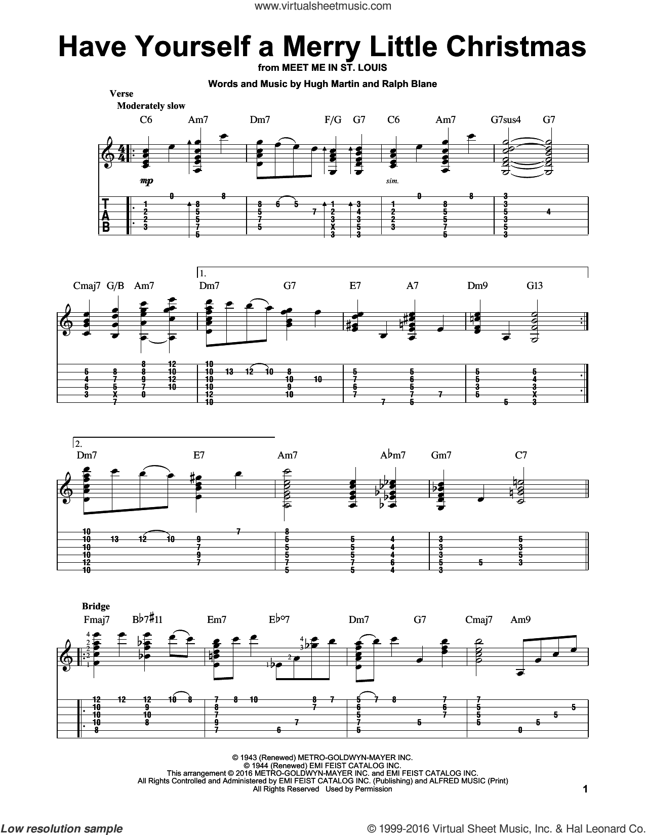 Martin - Have Yourself A Merry Little Christmas sheet music (intermediate) for guitar solo ...