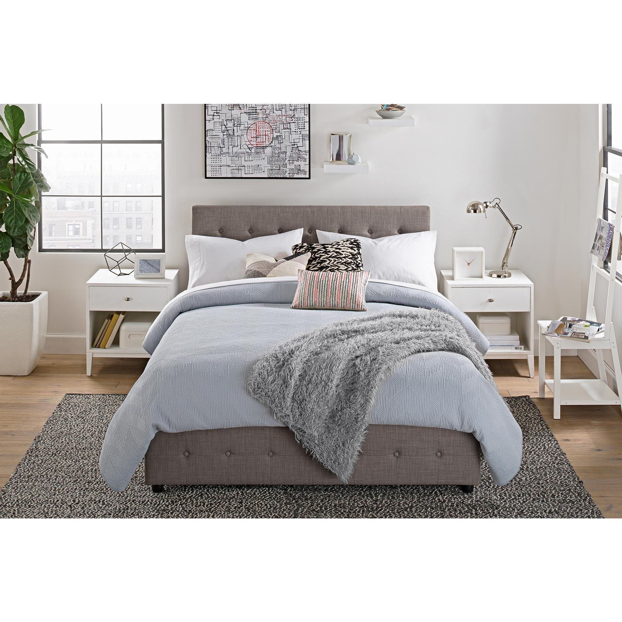 dhp cambridge grey linen upholstered bed with storage home sweet home upholstered beds. Black Bedroom Furniture Sets. Home Design Ideas