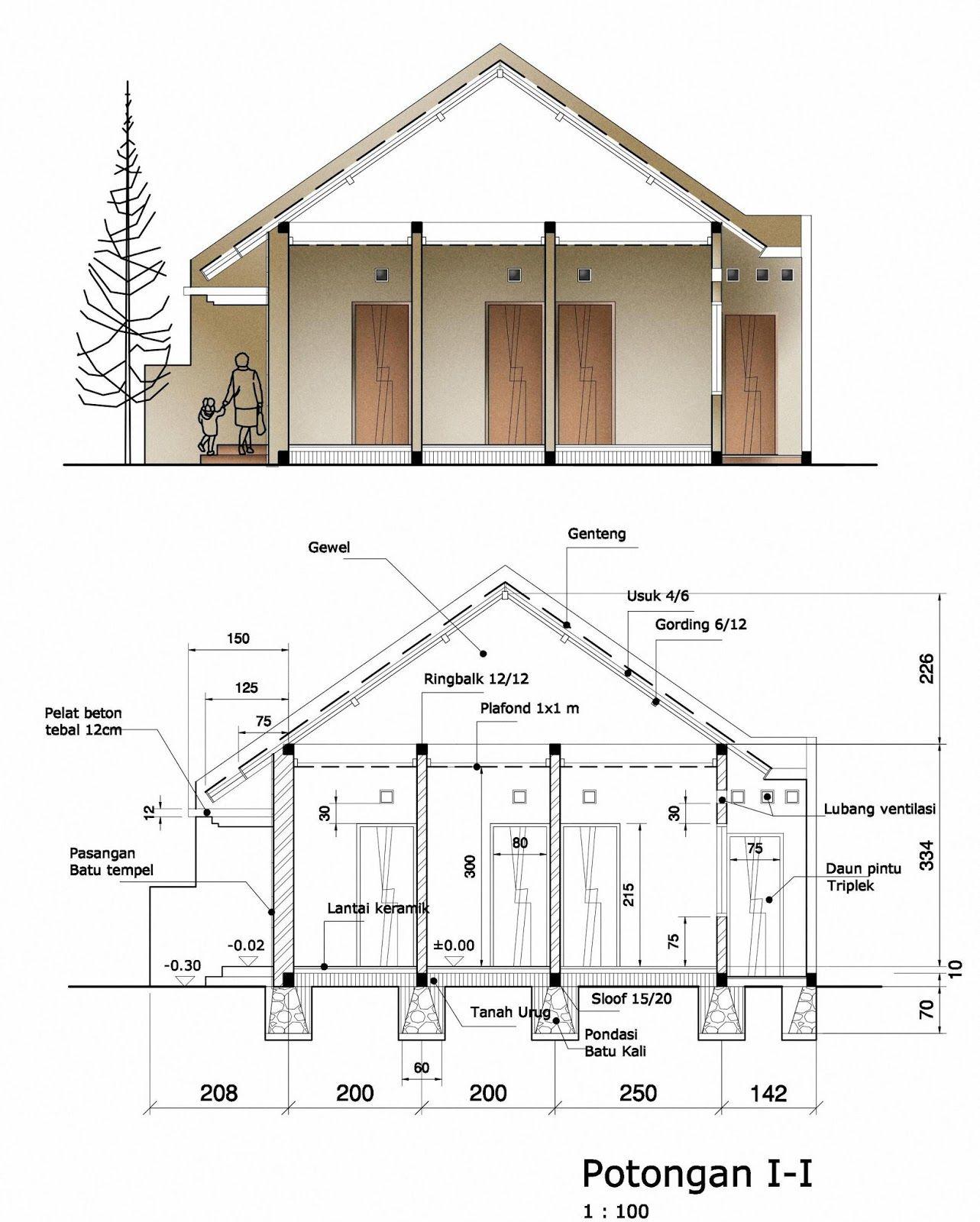 Rancangan Contoh Gambar Denah Dan Potongan Rumah Yang Modern Rumahminimalispro Com Arsitektur Desain Rumah Eksterior Sketsa Arsitektur