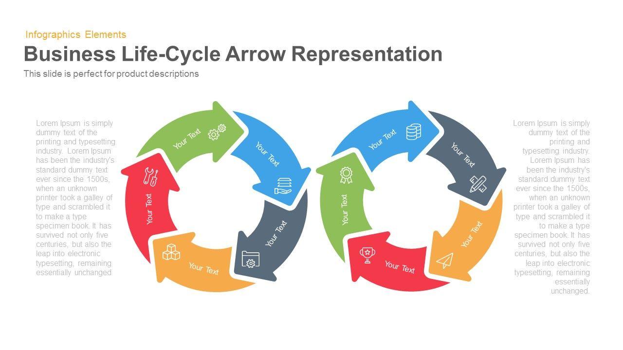 business life cycle arrow representation | powerpoint templates, Powerpoint templates