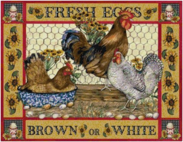 Cottage Crafts: Fresh Eggs Country Chickens Cross Stitch Pattern