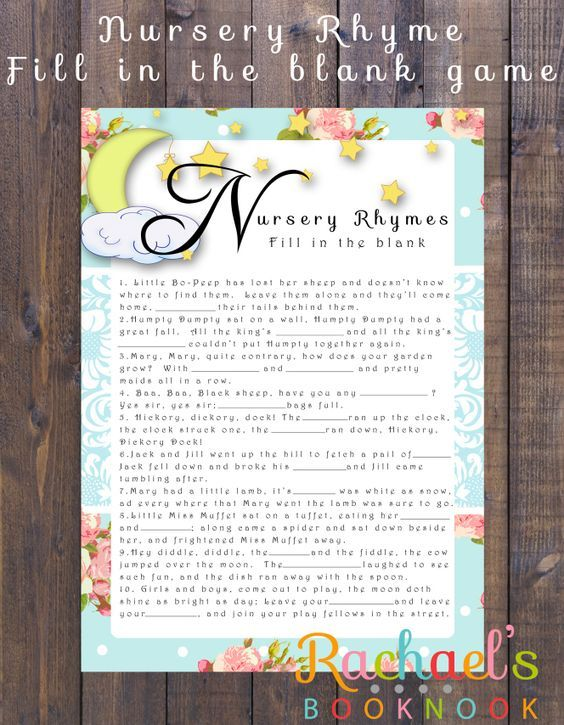Nursery Rhymes Fill In The Blank Game With Free Printable Great For