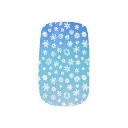 White snowflakes, blue to white color fade minx nail art | Zazzle.com
