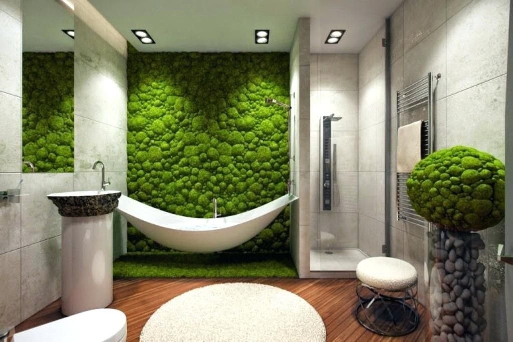 Wall Art For Bathroom Decor Fake Natural Grass Wall Art For Tropical Bathroom Decorating Ideas With Modern Fixtures Bat Bathtub Design Garden Bathtub Moss Wall