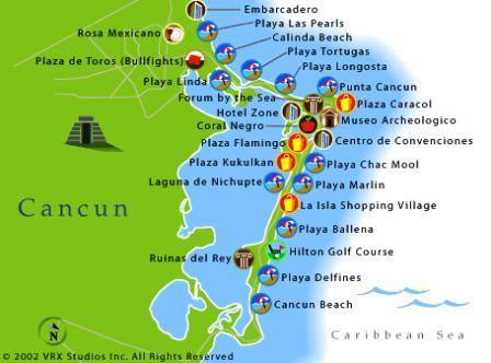 playa tortugas cancun map Cancun Cancun Cancun Mexico Area Map playa tortugas cancun map