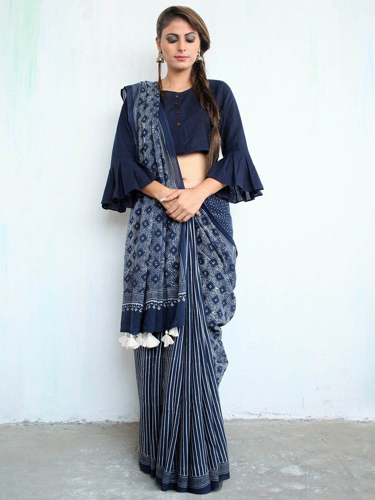 2d7233535dd16a Blue Cotton Mul Hand Block Printed Saree | saree | Blouse designs ...
