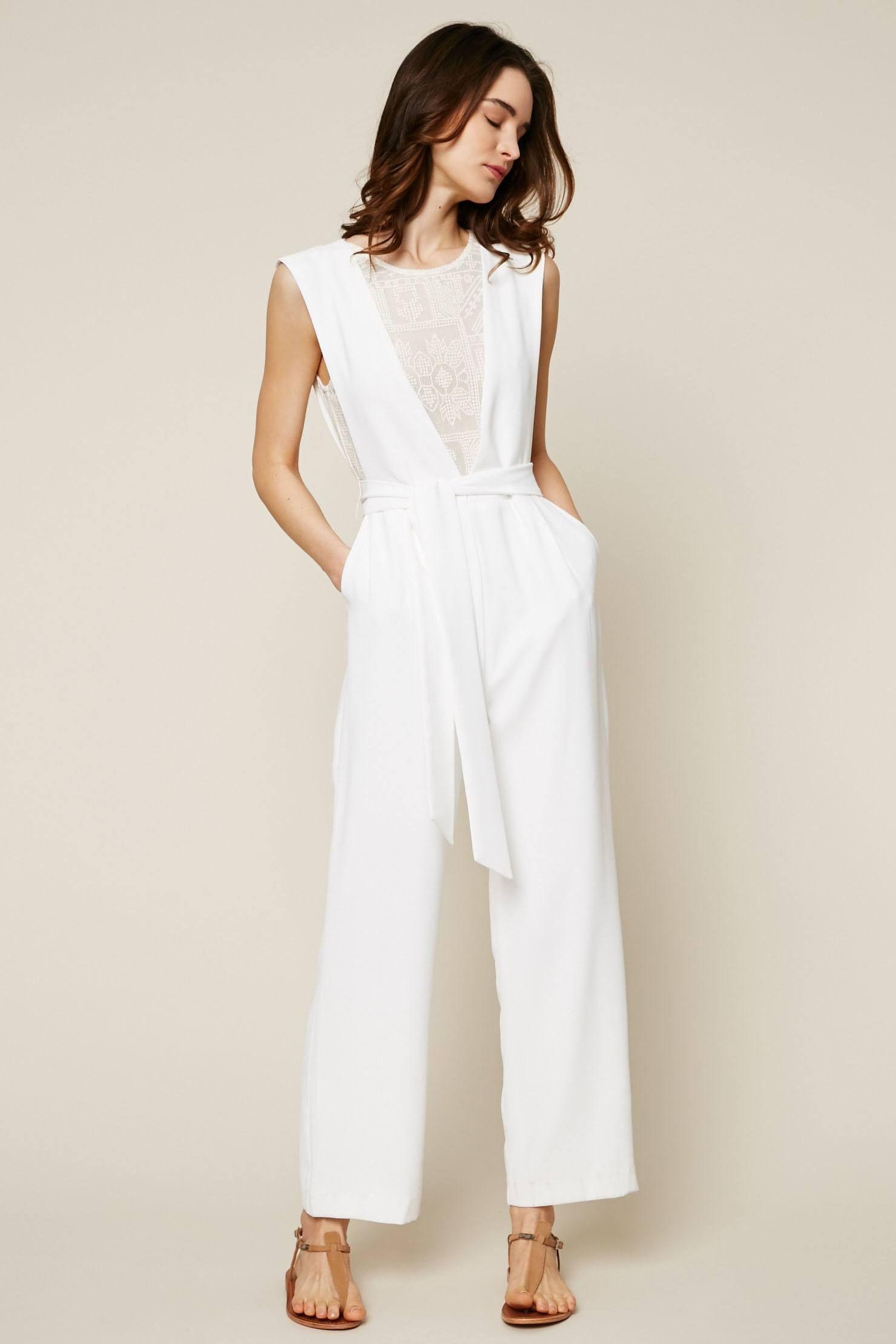 444b9d28e4ee Suncoo Tyler Combi-pantalon avec dentelle macramé blanc cassé ...