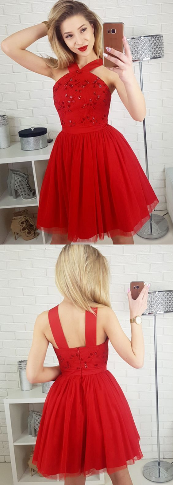 Stylish aline straps red tulle short homecoming dress with sequins