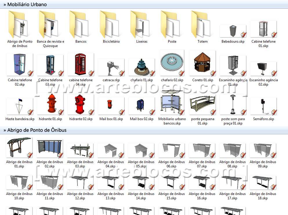 amostra de blocos sketchup de mobili rio urbano pra a