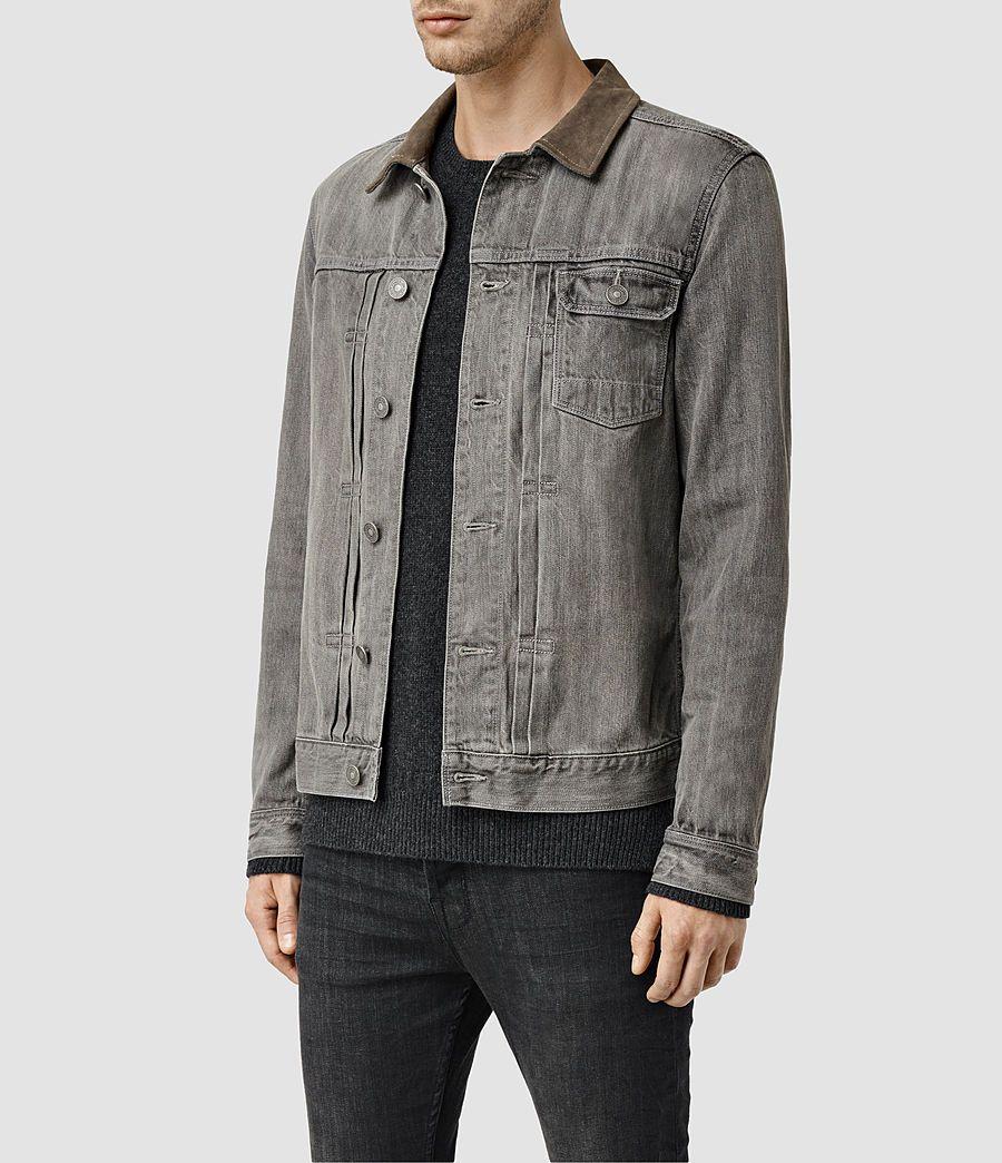 Mens Hough Denim Jacket Grey Allsaints Com Jackets Denim Fashion Denim [ 1044 x 900 Pixel ]