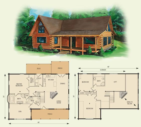 Cabin floor loft with house plans dogwood ii log home for 3 bedroom log cabin plans